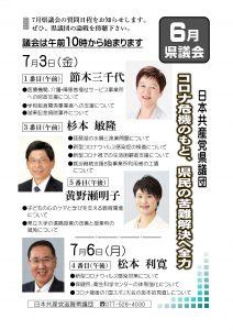 2020年6月県議会、議員の質問日程ビラ